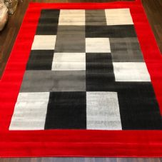 NEW MODERN BLOCK DESIGN RUGS RED 220X270CM 9X7FT APPROX LUXURY QUALITY MATS